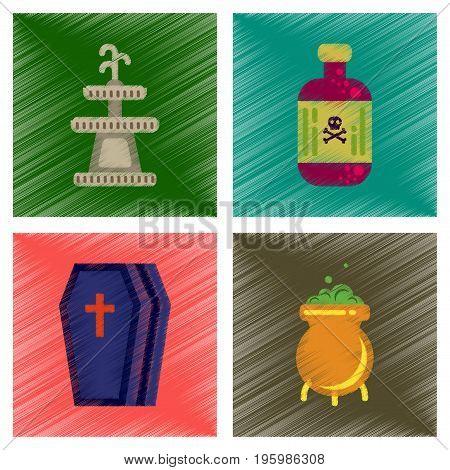 assembly flat shading style icons of Halloween symbols