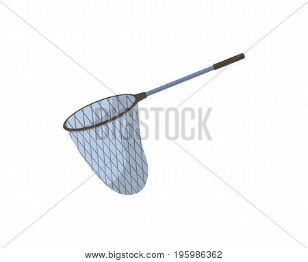 Fish net icon. Fishing equipment, outdoor hobby, nature vacation isolated vector illustration in flat design.