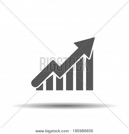 Chart up flat icon on a white background