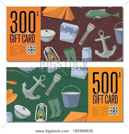 Fishing shop gift card templates. Tourist tent, anchor, fishhook, float, fishing rod, paddle, thermos, flashlight, rubber boots, cooler box vector illustration. Retail certificate for fisher equipment