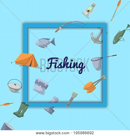Fishing poster with fisher equipment icons. Tourist tent, anchor, fishhook, float, fishing rod, paddle, thermos, flashlight, rubber boots, camp boiler, cooler box vector illustration in flat style.