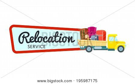 Relocation service isolated sticker in cartoon style. Commercial shipping advertising, transportation company badge with freight truck, city moving service, express delivery vector illustration.