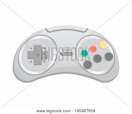 Control console for computer game icon in cartoon style. Game gadget, cybersport digital device, wireless gamepad or joypad isolated vector illustration.