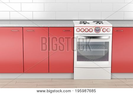 Modern electric stove in the kitchen, 3D illustration