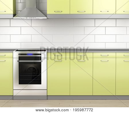Modern electric stove and range hood in the kitchen, 3D illustration