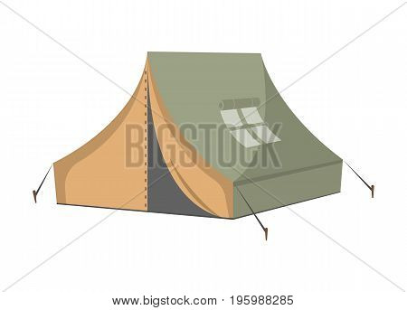 Campsite tent icon. Tourist equipment, hiking traveling, nature vacation, fishing or hunting isolated vector illustration in flat design.