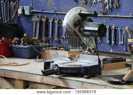 A Circular Saw on the Bench of a General Workshop.