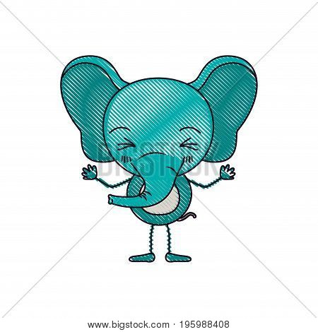 color crayon silhouette caricature of cute elephant wink eyes expression smiling vector illustration