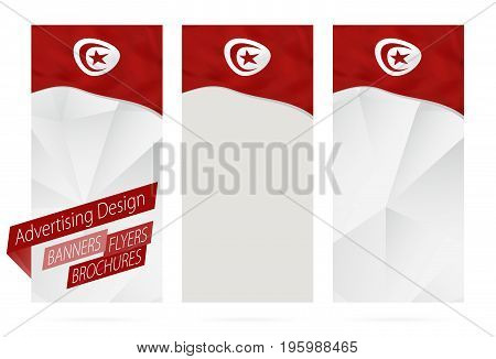 Design Of Banners, Flyers, Brochures With Flag Of Tunisia.
