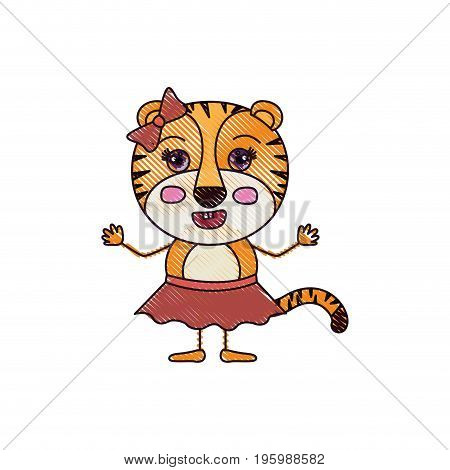 color crayon silhouette caricature of adorable expression tigress in skirt with bow lace vector illustration