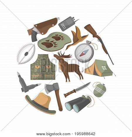 Hunting banner with hunter ammunition icons. Tourist tent, flask, ax, trap, binoculars, hat, compass, communication radio, gun, shotgun, knife, deer, duck isolated vector illustration in flat style