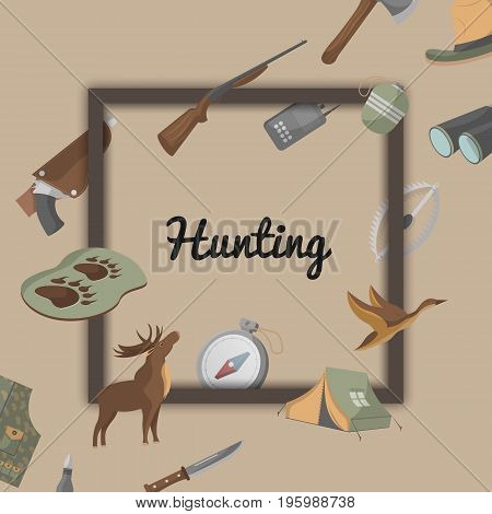 Hunting poster with hunter ammunition icons. Tourist tent, flask, ax, trap, binoculars, hat, compass, communication radio, gun, shotgun, knife, deer, duck isolated vector illustration in flat style