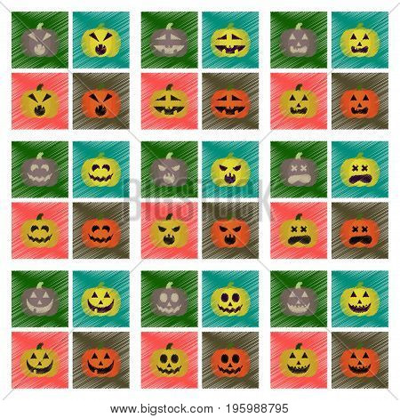 assembly flat shading style icons of halloween pumpkin