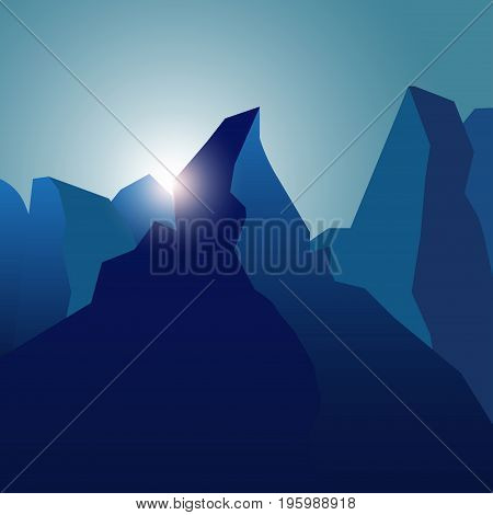 Realistic high peaks with blue gradients and lens flare. Mountain landscape background with sunbeam