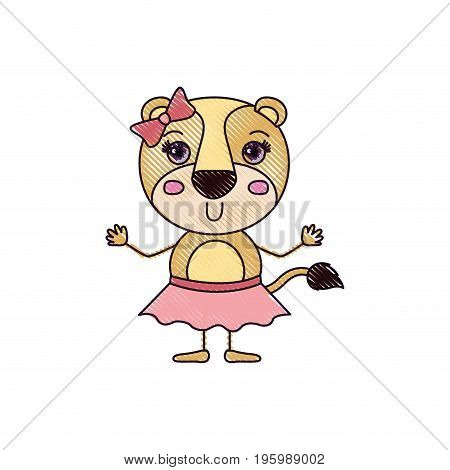 color crayon silhouette caricature of adorable expression lioness in skirt with bow lace vector illustration