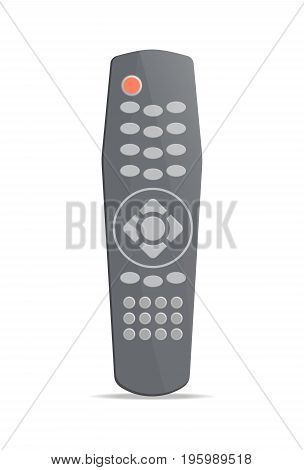 Modern remote control for electronics icon. Front view modern infrared controller with buttons isolated on white background vector illustration.