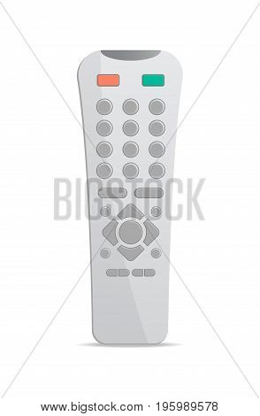 Plastic remote control for electronics icon. Front view modern infrared controller with buttons isolated on white background vector illustration.