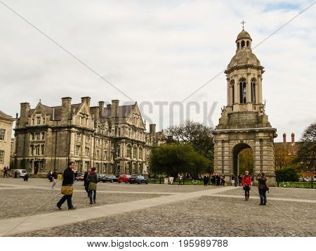 DUBLIN, IRELAND - NOVEMBER 05, 2013: Trinity College is Ireland's oldest university. Dublin, Ireland
