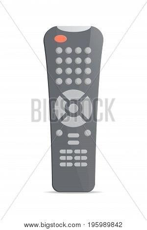 Modertn remote control for satellite receiver icon. Front view modern infrared controller with buttons isolated on white background vector illustration.