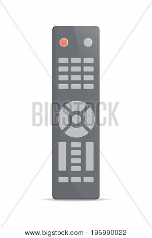 Universal remote control icon. Front view modern infrared controller with buttons isolated on white background vector illustration.