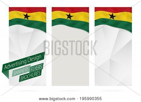 Design Of Banners, Flyers, Brochures With Flag Of Ghana.