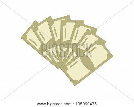Paper money icon. Money success symbol, financial and banking sign isolated on white background vector illustration.