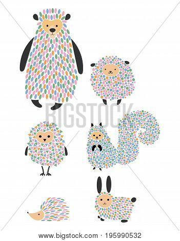 Vector set of cartoon animals and birds. Stylized forest dwellers. Collection of wild animals.