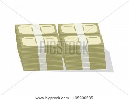 Bundles of banknotes icon. Money success symbol, financial and banking sign isolated on white background vector illustration.