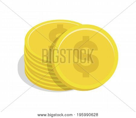 Gold coin stack with dollar sign icon. Money success symbol, financial and banking sign isolated on white background vector illustration.