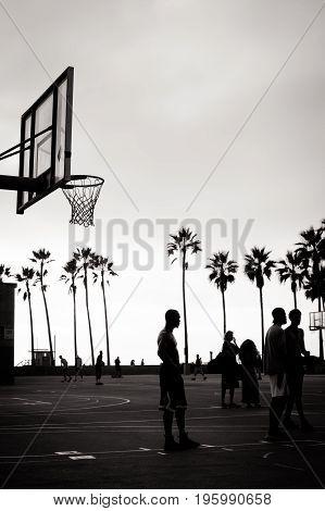 LOS ANGELES, USA - October 22 2017: Public basketball games at Venice Beach Recreation Center in Los Angeles, California, USA