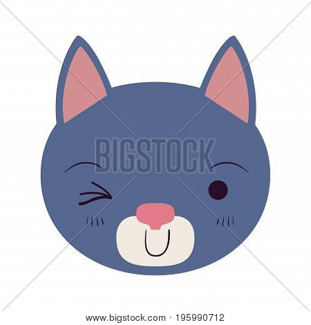 colorful caricature cute face of cat wink eye expression vector illustration