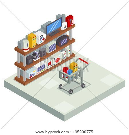 Shopping Room Interior Shelf with Goods Trolley Cart Shop Isometric Business Sell Offer Sale Store Market Icon Flat Design Vector Illustration
