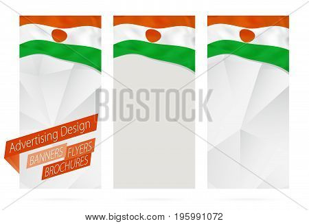 Design Of Banners, Flyers, Brochures With Flag Of Niger.
