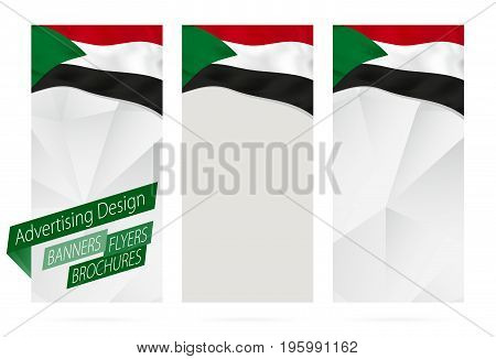 Design Of Banners, Flyers, Brochures With Flag Of Sudan.