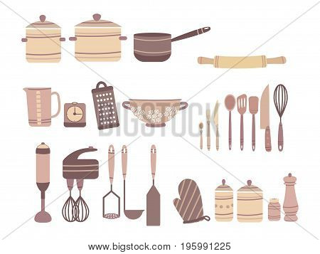 Vector set of kitchen accessories. Collection of culinary accessories in cartoon style. Knives and Castrulums.