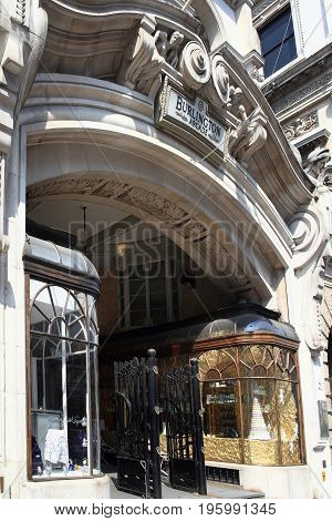 London, UK - April 24, 2011 : The Burlington Arcade in Piccadilly  which is a Georgian upmarket pedestrian shopping arcade and is a popular tourist attraction of the city