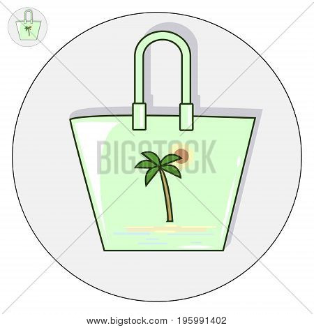 Beach bag vector flat illustration. Holiday logo and icon
