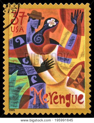 London, UK, July 30 2014 - Vintage 2005 United States of America cancelled postage stamp showing an abstract image of a couple dancing the Merengue