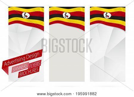 Design Of Banners, Flyers, Brochures With Flag Of Uganda.