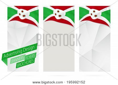 Design Of Banners, Flyers, Brochures With Flag Of Burundi.