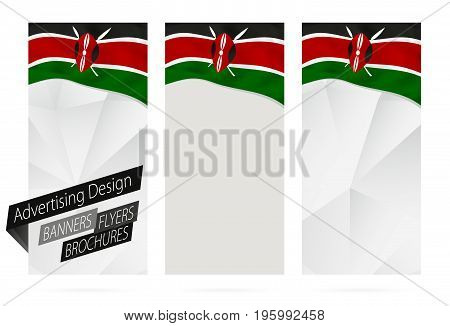 Design Of Banners, Flyers, Brochures With Flag Of Kenya.