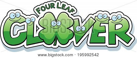 Cartoon Four Leaf Clover Text