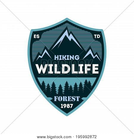 Hiking expedition vintage isolated badge. Outdoor adventure symbol, mountain and forest explorer, touristic extreme trip label vector illustration
