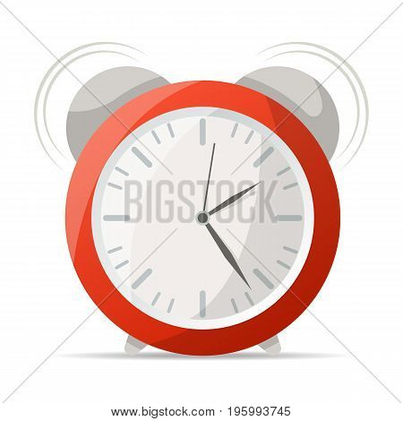 Red alarm clock with bells icon. Mechanical time chronometer, analog watch isolated vector illustration in flat style.