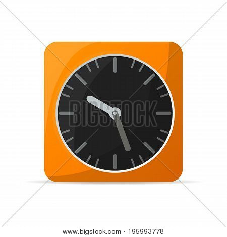 Retro alarm clock icon. Mechanical time chronometer, analog watch isolated vector illustration in flat style.