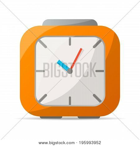 Analog alarm clock icon. Mechanical time chronometer, retro watch isolated vector illustration in flat style.