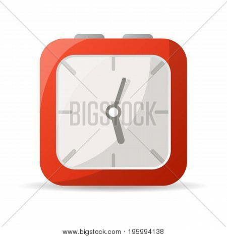 Red analog clock icon. Mechanical time chronometer, retro alarm clock isolated vector illustration in flat style.