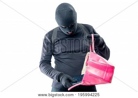 Robber Pulls Out A Purse From A Female Bag On A White Background