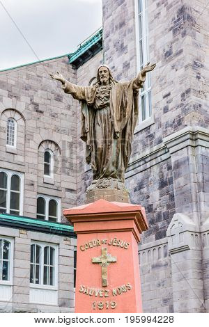 Montreal, Canada - May 27, 2017: Closeup Of Jesus Christ Statue With Open Arms At Saint-denis Cathol