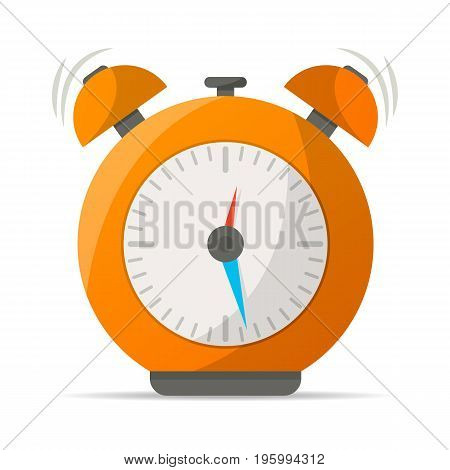 Orange alarm clock with bells icon. Mechanical time chronometer, analog watch isolated vector illustration in flat style.
